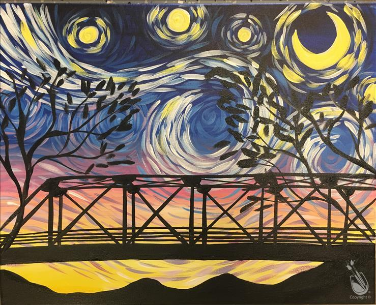 How to Paint Starry Night Over 6th Street Bridge
