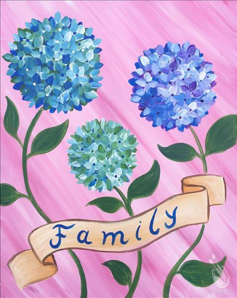 How to Paint Hydrangea Family- Kids/Adults/Family