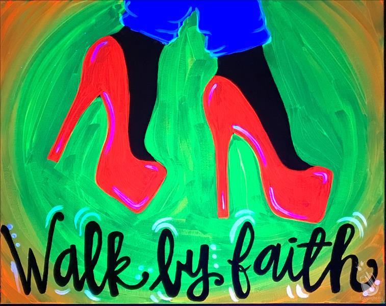 How to Paint Neon Walk by Faith BLACKLIGHT!!