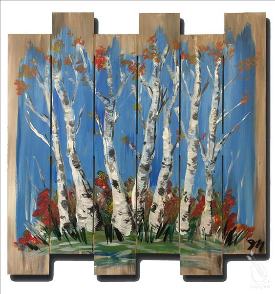 Colorful Birches on Wood Pallet
