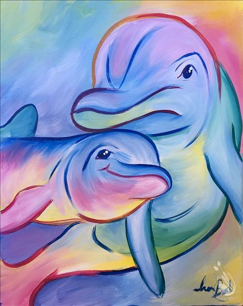 How to Paint NEW ART - Pastel Dolphins