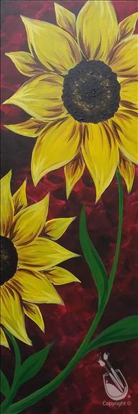 How to Paint *YOUR CHOICE! 10x30 LONG CANVAS* Sunflower on Red