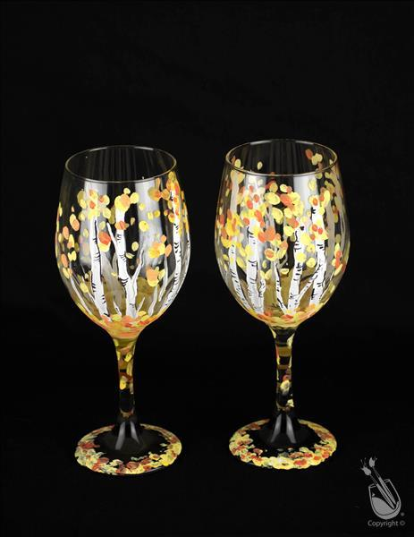 Glassware SET ~ Birch Trees