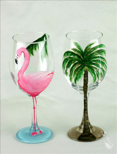 How to Paint Wine Glass Painting @ Island Wine!