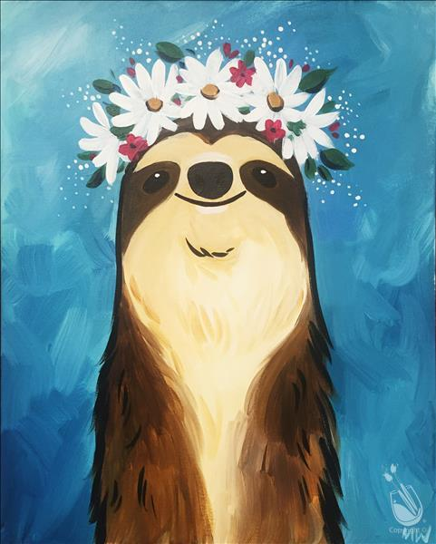 Flower Crown Sloth-VIRTUAL LIVE EVENT.