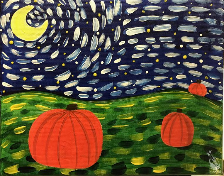 How to Paint Family Fun!  Starry Night Pumpkins!