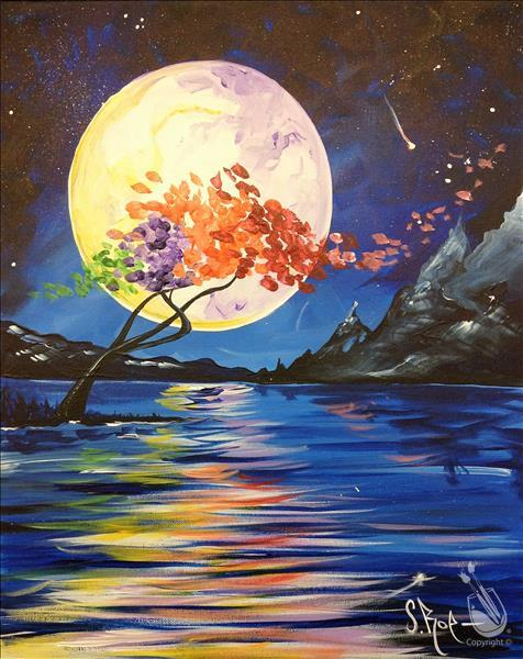 How to Paint Midnight Moon - Sip and Paint