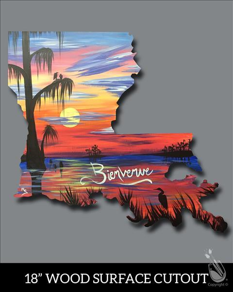 Wood Cutout Bienvenue Louisiana Sunday February 3 2019