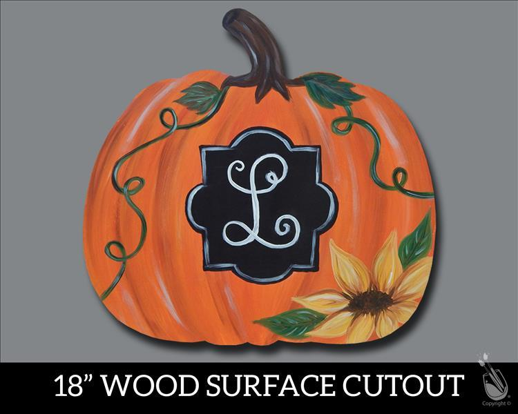 Monogram Pumpkin Wood Cutout