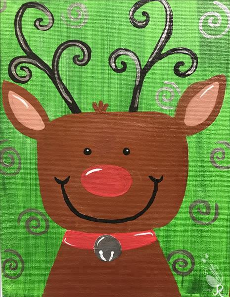How to Paint Holiday Reindeer Kids-Such a CUTIE for ages 6+