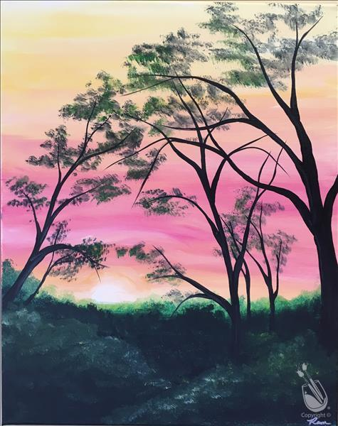 How to Paint Virtual LIVE Party-Wooded Sunset