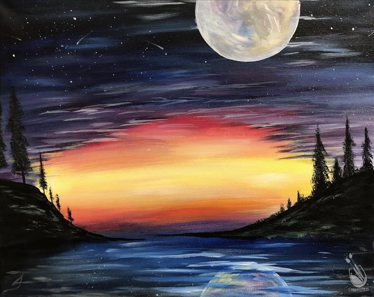 How to Paint Cosmic Moonrise. NEW ART