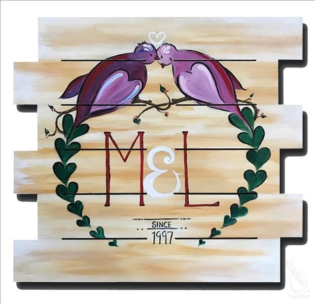 How to Paint Love Birdies Personalized Monogram