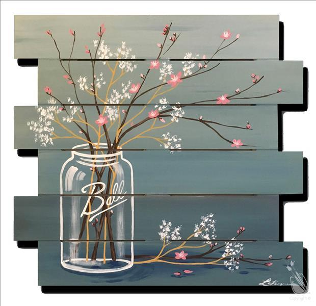 How to Paint **PAINT ON WOOD** - Mason Jar Cherry Blossoms