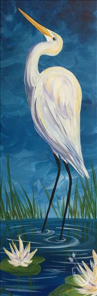 How to Paint Egret Among the Lilies