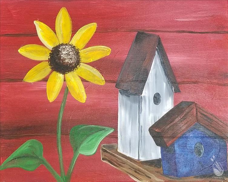 Bird House with Sunflower