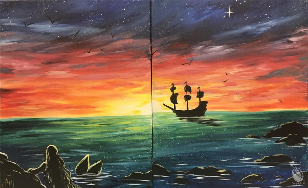 Mermaid sunset set or individual saturday march 17 for Painting with a twist alamo ranch