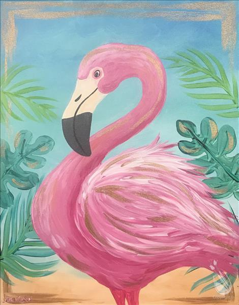 Pink & Gold Flamingo