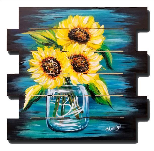 How to Paint Happy Sunflowers Pallet, Canvas or Wood