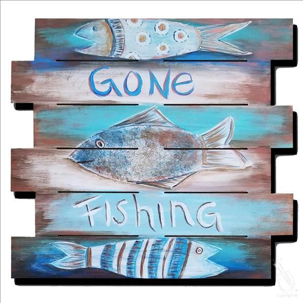 How to Paint Gone Fishing Pallet (In Studio)