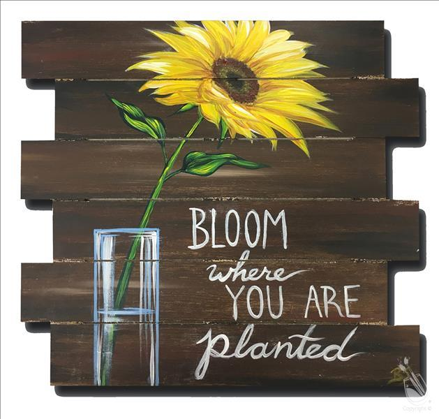 How to Paint Sunflower in Vase Pallet