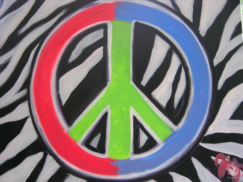 Zebra Peace Sign - ALL AGES!