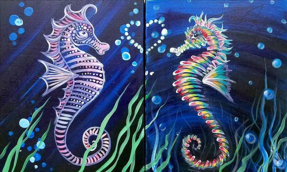 How to Paint Seahorses in Love - Set