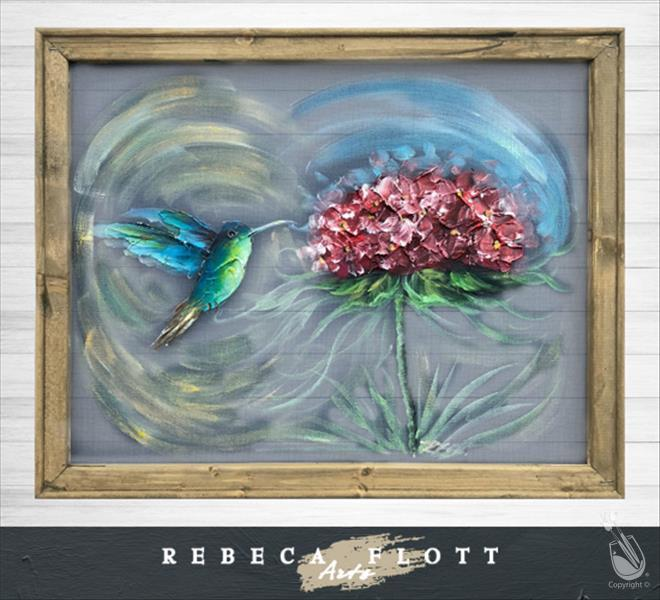 Screen Art - Happy Hummingbird -Rebecca Flotts Art