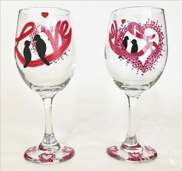 How to Paint Love Birds - Glassware Set- {Pink Moscato WDW}