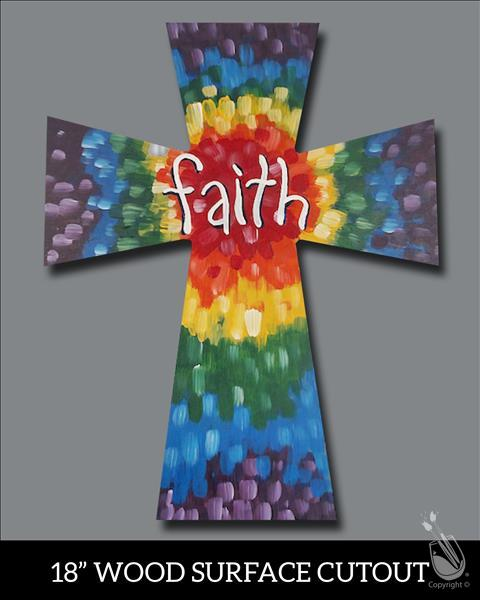 Tie Dye Faith Cross Cutout