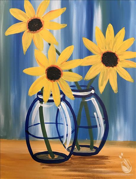 Happy Little Sunflowers - Kids Paint Class!