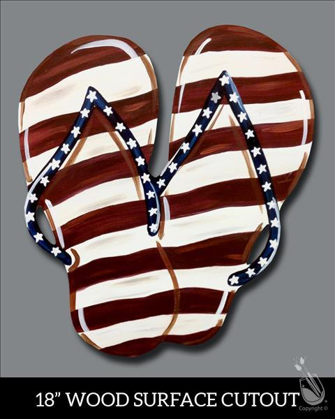 Patriotic Flip Flop - Wood Cutout - Great for Door
