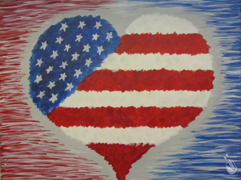 How to Paint Patriotic Heart (to celebrate Nat. Anthem Day)