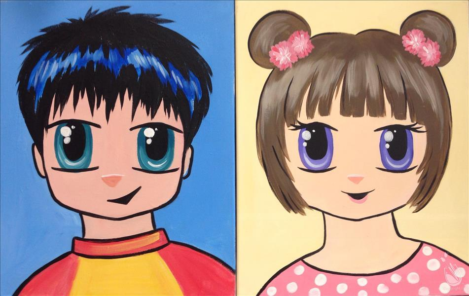 How to Paint Cartoon Selfie - Manga Me Style-Ages 7+ Welcome!