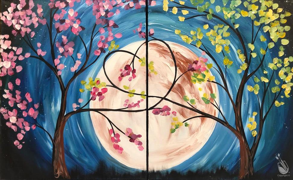 How to Paint Full Moon Love Trees - Couple Set