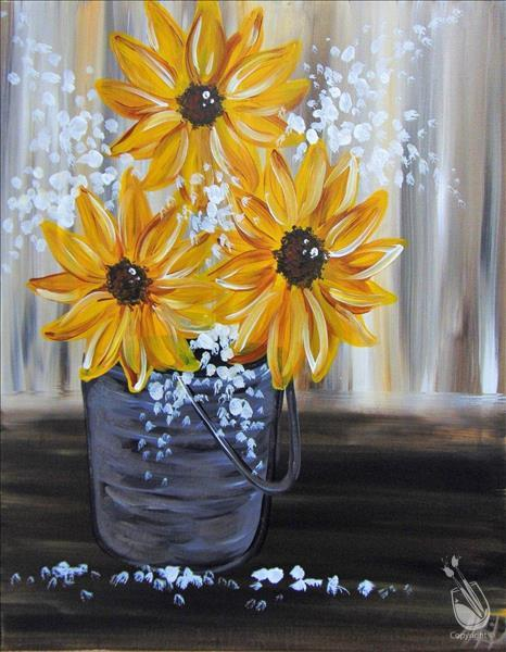 Sunflowers in Tin