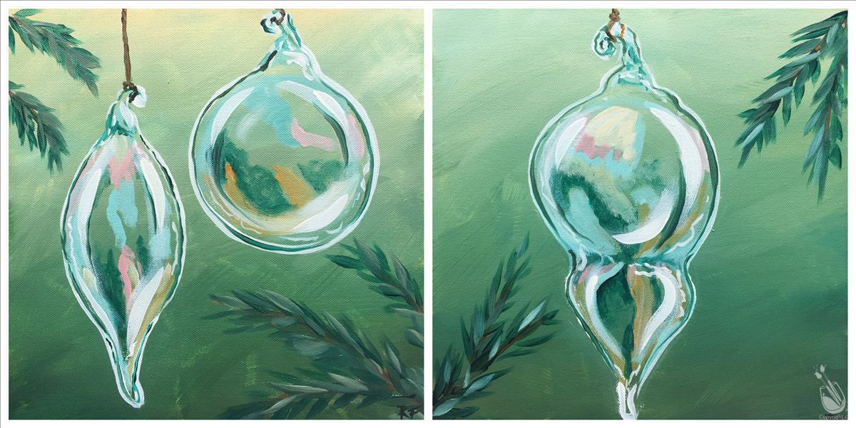 Green Glass Ornament - Set