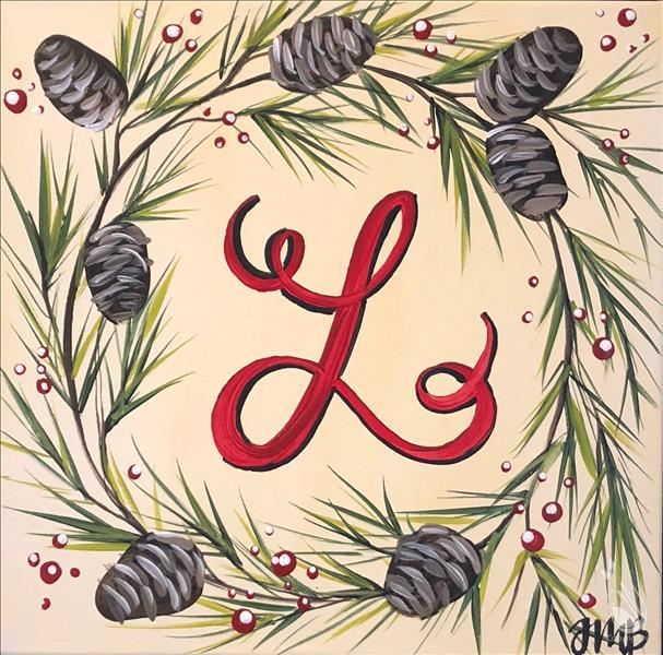 In Studio - Pinecone Monogram Wreath