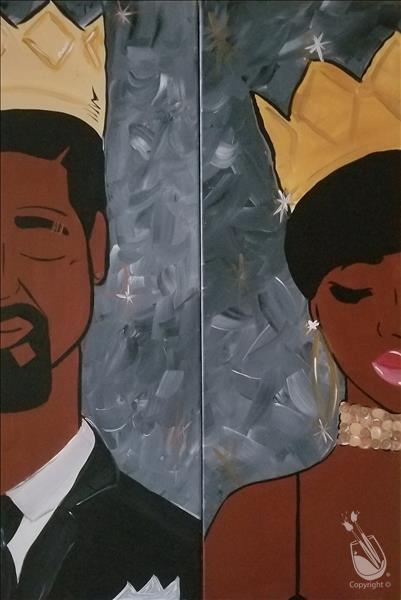 How to Paint *BFF/DATE NIGHT! 10x30 LONG CANVAS* Classy Royalty