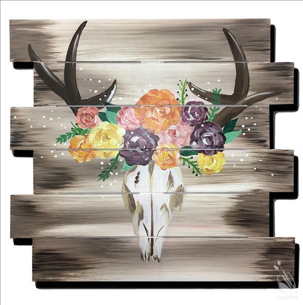 Flower Crown Deer Skull | Pallet or Plank Board