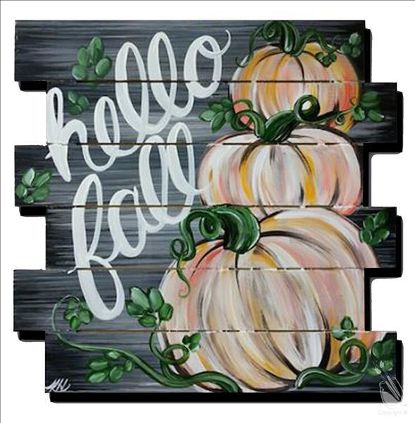 Rustic Fall pumpkins on Wood Pallet