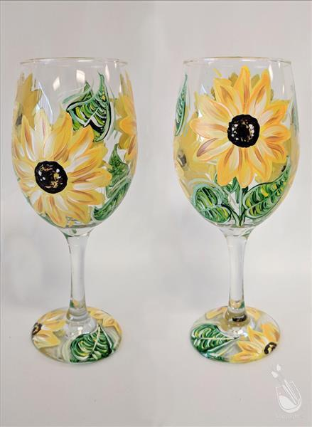 How to Paint Sunflower Wine Glass, Set of Two!