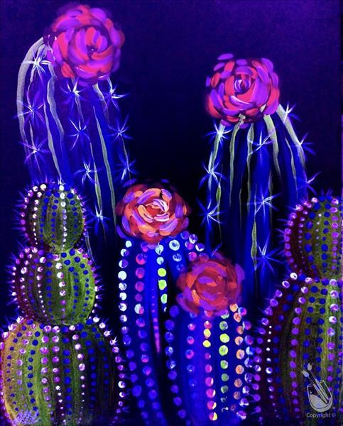 Neon Cacti BLACKLIGHT Party-In Studio Class!!!