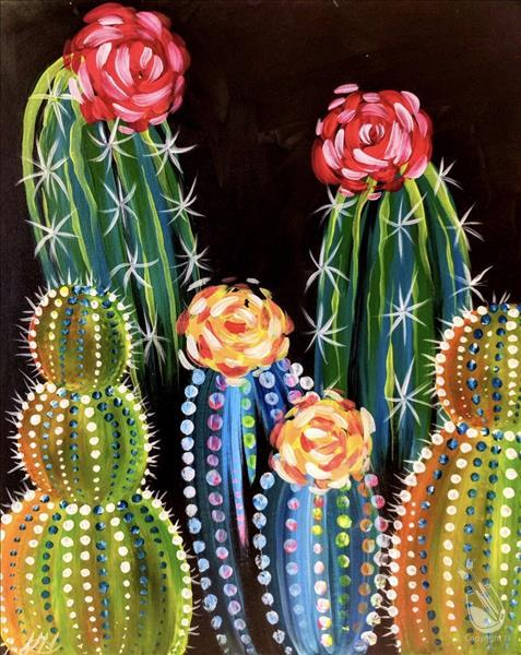 Neon Cacti - Art in the Afternoon - In Studio