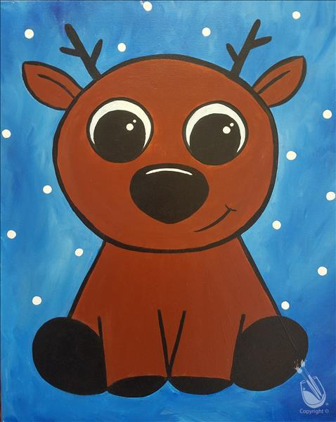 How to Paint FAMILY FUN Ages 6+ Cute Baby Reindeer
