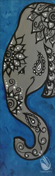 Tall Paisley Elephant - Silver and Blue