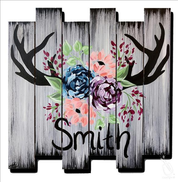 Personalized Rustic Antler Sign Pallet