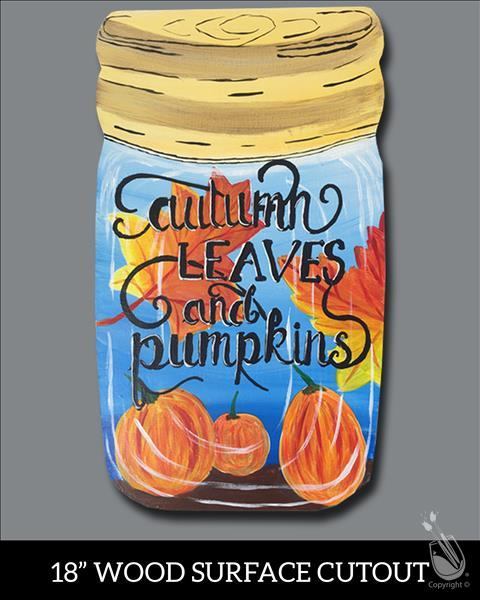 How to Paint Autumn Leaves Jar Wood Cutout