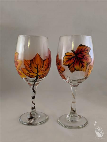 Glassware SET ~ Vivid Fall Leaves