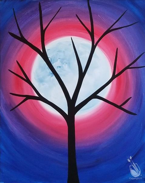 Ages 5 Simple Tree And Moon Saturday January 16 2021 Painting With A Twist Longview Tx